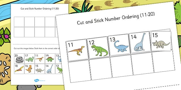 Dinosaur Themed Cut and Stick Number Ordering Sheets 11-20 - cut