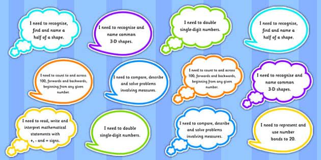Year 1 Maths Assessment Targets on Speech Bubbles - maths, target