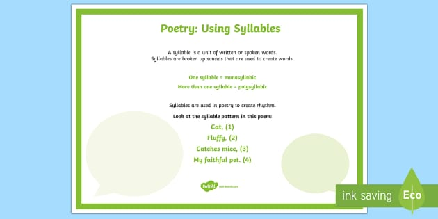 Poetry: Using Syllables A4 Display Poster - Literacy, Interpreting, analysing, evaluating, english, poetry, writing, poems, poetry, syllables, g
