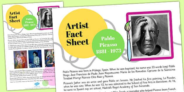 Artist Fact Sheet Pablo Picasso - artist, fact, pablo, picasso
