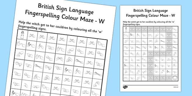 British Sign Language Left Handed Fingerspelling Colour Maze W