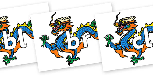 Initial Letter Blends on Chinese Dragon - Initial Letters, initial letter, letter blend, letter blends, consonant, consonants, digraph, trigraph, literacy, alphabet, letters, foundation stage literacy