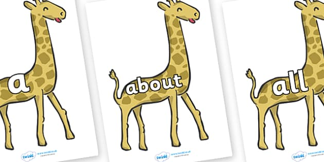 100 High Frequency Words on Giraffes - High frequency words, hfw, DfES Letters and Sounds, Letters and Sounds, display words