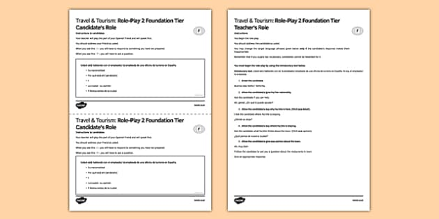Viajes & Turismo 2 Juego de rol Foundation Tier - spanish, Holidays, role play, foundation, speaking, hotel, travel, tourism