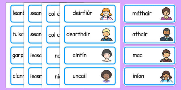 My Family Word Cards Gaeilge - gaeilge, my family, word cards, word, cards, family
