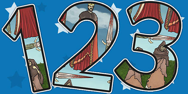 Macbeth Themed A4 Display Numbers - shakespeare, KS2 stories