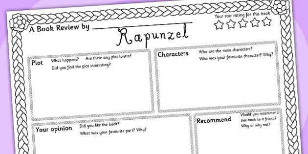 Rapunzel Book Review Writing Frame - rapunzel, book review, book, review, writing frame, writing, rapunzel writing frame, book review writing frame