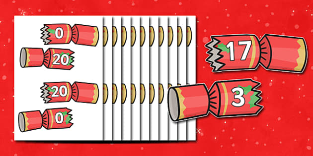 Christmas Number Bonds to 20 on Crackers - christmas, number bonds, number bonds to twenty, numbers, numeracy, number activities, number games, addition