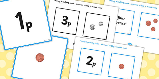 Money Matching Cards (to 50p - Mixed Coins) - Money, coins, pounds, pence, foundation numeracy, coin, pay, matching cards, matching, game, shop, addition, prices, price