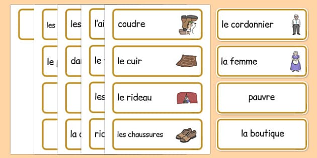 The Elves and the Shoemaker Word Cards French - french, Traditional tale, tales, elves, elf, shoemaker, flashcards, cards, word cards, wife, stitch, leather, danced, shirt, needle, thread, socks, trousers, shoes, workshop, story, fairytale