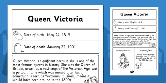 Queen Victoria Significant Individual Fact Sheet - fact, sheet