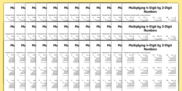 Multiplication 4-Digit x 2-Digit Missing Numbers Differentiated