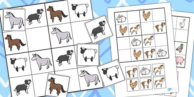 Farm Animal Sudoku - Activities, Activity, Game, Games, Puzzle