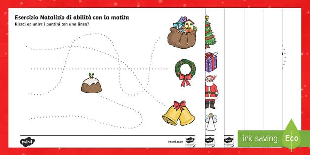 Italian Unisci i Puntini di Natale - Unisci i puntini, esercizio, scrittura, natale, abilita, esercizi, italian, italiano, english