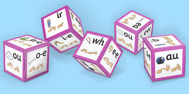 Phase 5 Alphabet Sound Dice Net with Images and British Sign Language