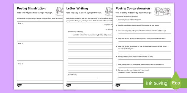 Poetry Activity Sheets to Support Teaching on First Day Back by Roger McGough  - World Teachers' Day, poetry, Roger McGough, First Day At School, comprehension, letter writing, ill