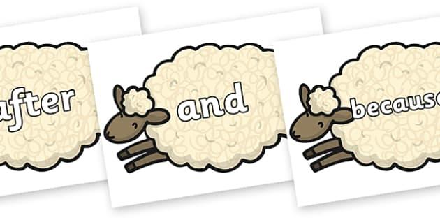 Connectives on Sheep - Connectives, VCOP, connective resources, connectives display words, connective displays