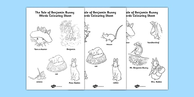 Beatrix Potter - The Tale of Benjamin Bunny Words Colouring Sheet - beatrix potter, benjamin bunny