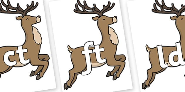 Final Letter Blends on Reindeer - Final Letters, final letter, letter blend, letter blends, consonant, consonants, digraph, trigraph, literacy, alphabet, letters, foundation stage literacy