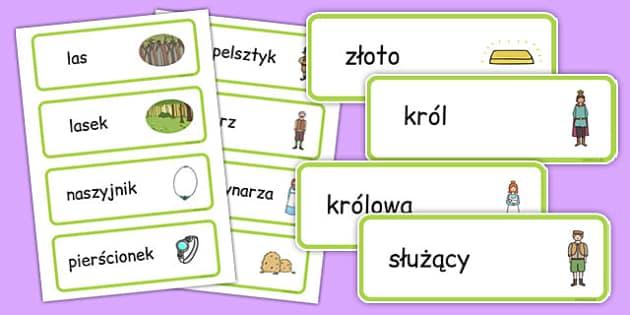 Karty ze słownictwem Rumpelsztyk po polsku - bajki, baśnie