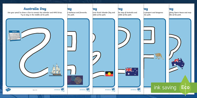 Australia Day Pencil Control Path Activity Sheets - worksheet, motor