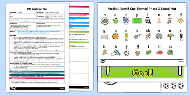 EYFS Phase 2 Football Word Game Adult Input Plan and Resource Pack - pseudo words, read, write, read, write, satipn, letters and sounds ohase 2, lettes, soccer, Letters& sounds