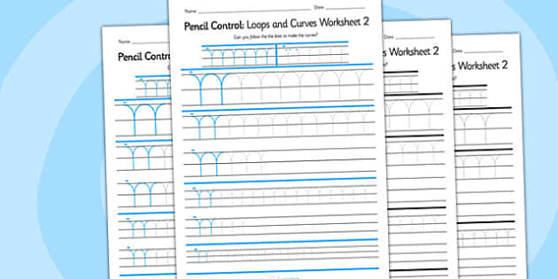Pencil Control Loops And Curves Worksheet 2 - pencil control