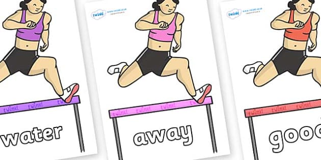 Next 200 Common Words on Olympic Hurdles - Next 200 Common Words on  - DfES Letters and Sounds, Letters and Sounds, Letters and sounds words, Common words, 200 common words
