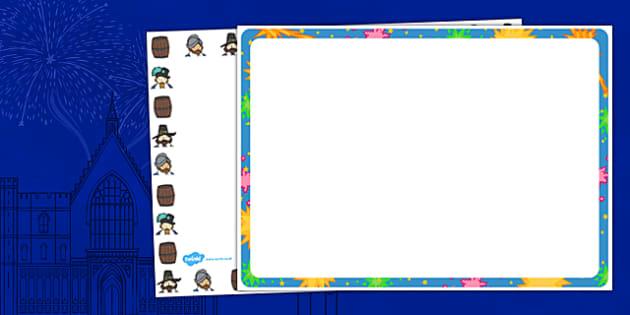 Gunpowder Plot Full Page Borders (Landscape) - page border, border, frame, writing frame, gunpowder plot, guy fawkes, guy fawkes page border, gunpowder plot page borders, writing template, writing aid, writing, A4 page, page edge, writing activities,