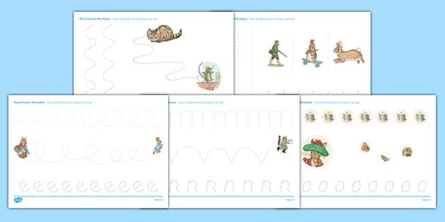 Beatrix Potter Pencil Control Worksheets - beatrix potter, pencil control, worksheets