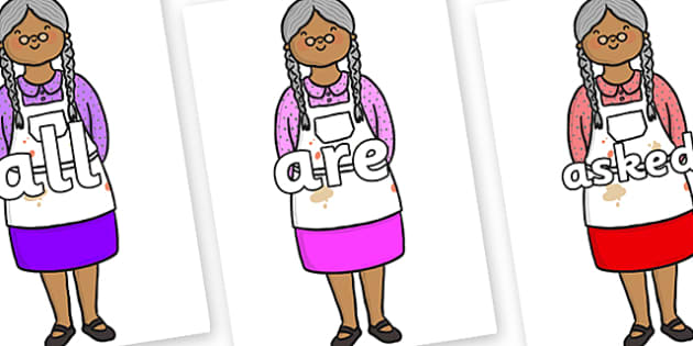 Tricky Words on Little Old Woman - Tricky words, DfES Letters and Sounds, Letters and sounds, display, words