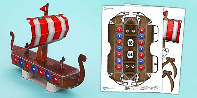 Viking Long Boat Paper Model - viking, long boat, craft, paper