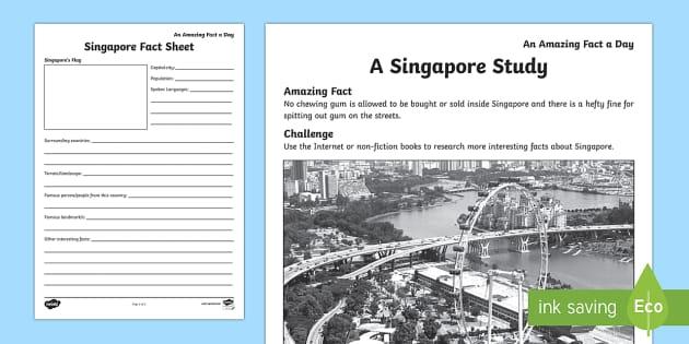 A Singapore Study Activity Sheet, worksheet