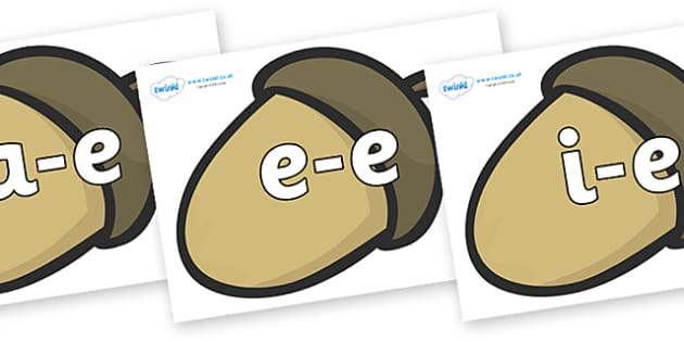 Modifying E Letters on Brown Acorns - Modifying E, letters, modify, Phase 5, Phase five, alternative spellings for phonemes, DfES letters and Sounds