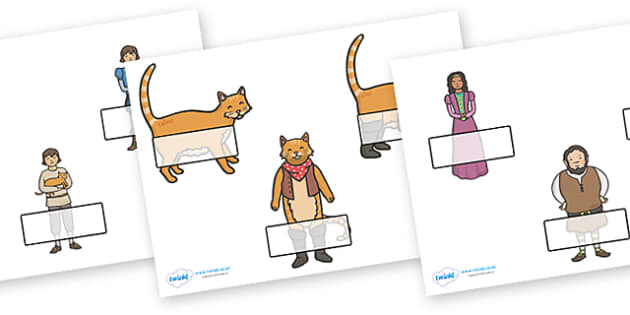 Puss in Boots Self Registration (Editable) - Puss, cat, in boots, royal, coach, curier, miller, king, Self registration, register, editable, labels, registration, child name label, printable labels, king's daughter, donkey, prince,Marquis of Carabas,