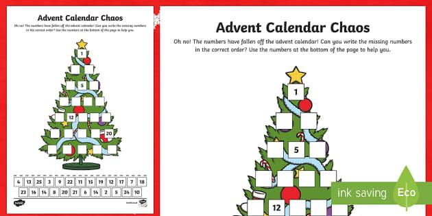 Advent Calendar Chaos Number Activity Sheet