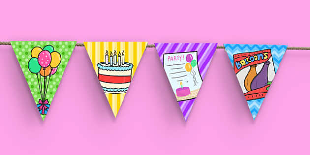 8th Birthday Party Picture Bunting - 8th birthday party, 8th birthday, birthday party, picture bunting