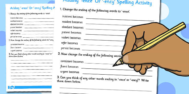 Adding -ence or -ency Spelling Activity - add, ence, ency, spell