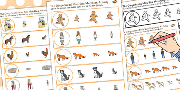 The Gingerbread Man Size Matching Worksheet - size, matching
