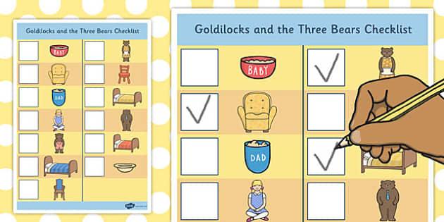 Goldilocks Picture Checklist - goldilocks, picture, checklist