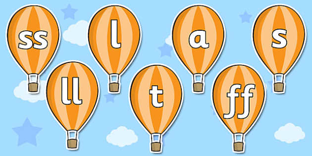 Phase 2 Phonemes on Hot Air Balloons - phase 2, phonemes, hot air