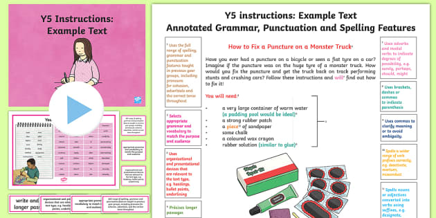 Y5 Instructions Model/Example Text - Example Texts Y5, instructions, monster truck, puncture, WAGOLL, exemplification, annotated, example, ARE, age-related example, model, model text, age-related model