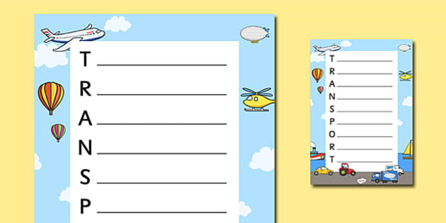 Transport Themed Acrostic Poem Template