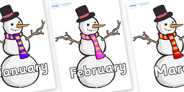 Months of the Year on Snowmen - Months of the Year, Months poster, Months display, display, poster, frieze, Months, month, January, February, March, April, May, June, July, August, September
