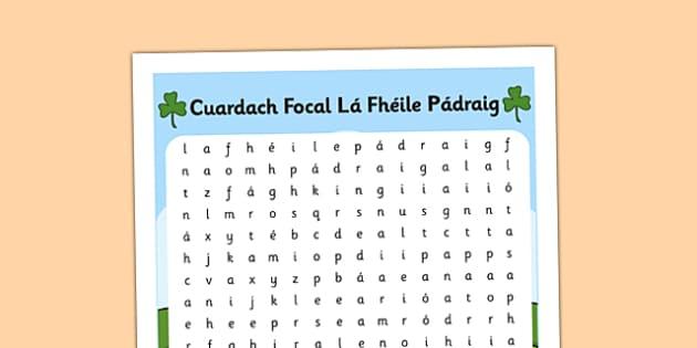 Saint Patrick's Day Word Search Gaeilge - wordsearch, Saint Patrick, vocabulary, Saint Patrick's Day, Gaeilge, Irish