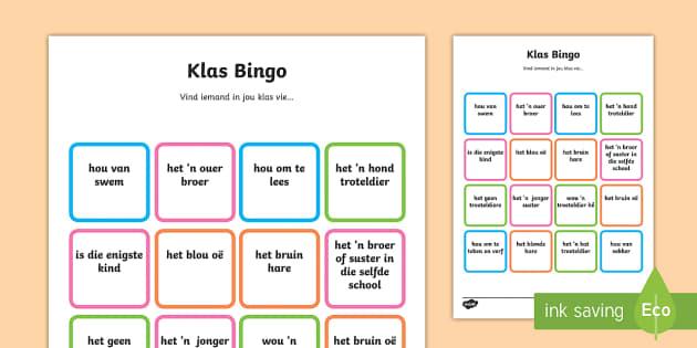 Klas welkom Bingo - Klas welkom bingo - bingo, speel, klass, begin van die jaar, welkom, eerste dag van klas.