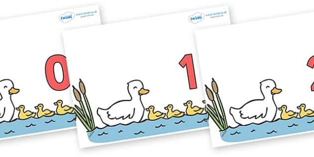 Numbers 0-100 on Five Little Ducks - 0-100, foundation stage numeracy, Number recognition, Number flashcards, counting, number frieze, Display numbers, number posters
