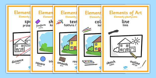 Elements of Art Display Posters Polish Translation - Polish, Poland, EAL, art, art and design, design, line, colour, texture, shape, form, space, value, tone, size, vocabulary