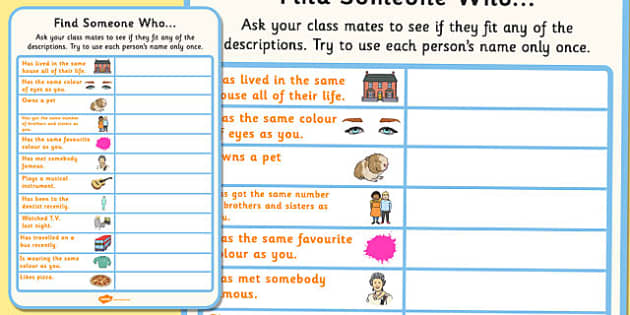 Find Someone Who Activity Sheet - find someone, activity, sheet, worksheet