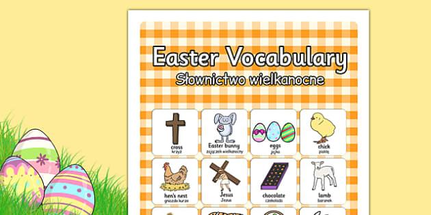 Easter Vocabulary Poster Polish Translation - polish, easter, vocabulary, display, poster